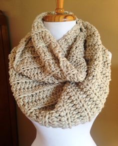 Chunky long ribbed crochet infinity scarf. by BallAndHook on Etsy