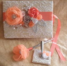 Coral Champagne and White Wedding Guest Book by NellieKatzDesigns, $60.00