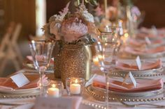 Gold, Mint and Blush Wedding - love the gold glitter mason jars!