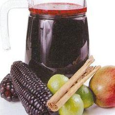 Chicha Morada--Peruvian drink made from purple corn. Peruvian Drinks, Peruvian Dishes, Peruvian Cuisine, Peruvian Recipes, Dessert Drinks, Yummy Drinks, Healthy Drinks, Desserts, Chicha Morada Recipe