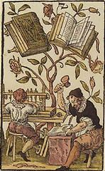 'The Two of Books', coloured woodcut from Jost Amman's 'Charta lusoria...