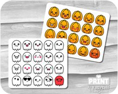 Kawaii Emoticon Stickers  Instant Download by Print4Yourself