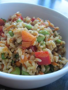 Joy's Edamame and Brown Rice Salad: This vegetarian entrée salad features fiber-rich brown rice, protein-packed edamame, and a rainbow of vegetables seasoned with a nutty, flavorful Asian dressing. You'd be hard-pressed to find a salad that squeezes more nutrition into a single bowl!