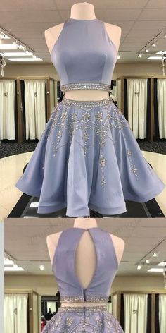 Shinning Two Piece Blue High Neck Homecoming Dresses With Beading,Short Prom Dre. Semi Dresses, Dresses Elegant, Hoco Dresses, Dance Dresses, Pretty Dresses, Beautiful Dresses, Evening Dresses, Quinceanera Dresses, Blue Dresses