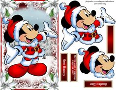 - Card Topper, Decoupage , 3 Sentiments plus a blank Diy Christmas Yard Art, Christmas Sheets, Disney Christmas Decorations, Christmas Decoupage, Mickey Mouse Christmas, 3d Christmas, Christmas Drawing, Christmas Pictures, Parchment Cards