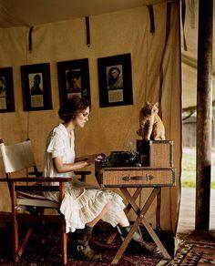 Keira Knightley in Vogue. I dont even like Keira Knightley but I love this. Keira Knightley, Keira Christina Knightley, Style Board, Campaign Furniture, Campaign Desk, Safari Chic, British Colonial Style, British Country, Vogue Us