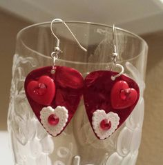 Betsy's Jewelry- Valentines Day Guitar Pick Earrings by BetsysJewelry on Etsy, $6.00