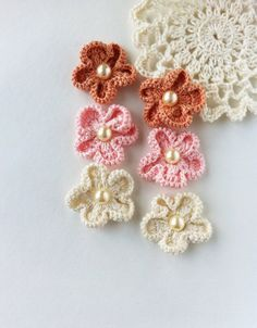 Crochet accessories little crocheted flowers by ElenaCrochetShop