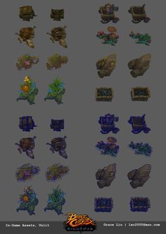 Crafting stations and resource node props I've concepted and built for Battle Chasers: Night War. Also quite amazing to see them come to life in game with the help of our amazing animators. Battle Chasers, Game Props, Game Assets, Environment Design, Game Design, Game Art, The Help, Hand Painted, Fantasy