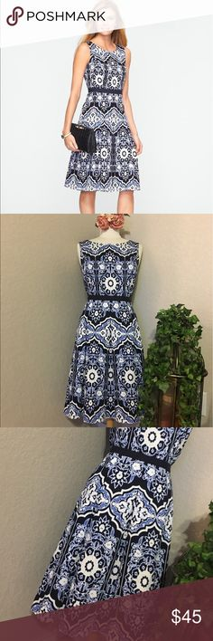"""🌷TALBOTS FLOWER MOSAIC DRESS🌷 BEAUTIFUL DRESS In GREAT CONDITION NO STAINS NO HOLES! flattering, easy-care sleeveless dress graced with beautiful flower mosaic print. The fit-and-flare silhouette, with its tailored bodice and sweeping skirt, has been flattering women's shapes since the 1950s. And while it originally made its name as a party dress, ours is ready to take you anywhere.  Scoopneck Sleeveless Ribbon-trimmed Set-in waist Measurements Bust 20"""" waist 17"""" Length 39""""…"""