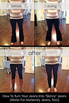 "How to Turn Your Jeans Into ""Skinny"" Jeans (Works For Maternity Jeans, Too!) by It's Great To Be Home, via Flickr"