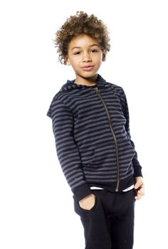 Boys can add a touch of sporty style to any outfit in any season with the Striped French Terry Cardigan made from soft cotton/poly terry. In a long sleeve silhouette with a zip front closure, this two-tone horizontal stripe hoodie features a zip front silhouette with a solid lining in the hood, a kangaroo front pocket, and rib knit accents at the hem and cuffs.