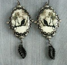 Halloween Black Raven Earrings Crow Earrings