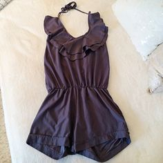 "Plum Romper:)  Like brand new, worn maybe once. I'm 5.7"". BELT NOT INCLUDED. 100% Polyester. Purple- Grey tone. Poof Couture Pants Jumpsuits & Rompers"