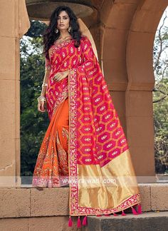 Be an angel and create and establish a smashing impression on everyone by wearing this orange georgette Half n half saree. The embroidered looks chic and aspiration for any get together. Comes with matching blouse. Party Wear Sarees Online, Party Sarees, Designer Sarees Online, Silk Sarees Online, Half And Half, Orange Saree, Looks Chic, Half Saree, How To Dye Fabric