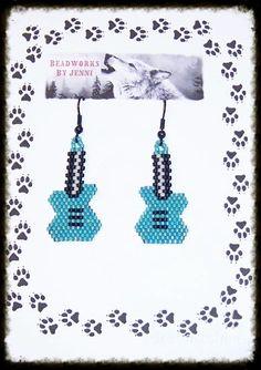 Native American Teal Beaded Guitar Earrings