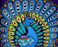 Peacock Art Bird print poster painting modern abstract folk art Contemporary