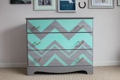 Custom Made Grey and Teal Chevron Three Drawer Dresser with Rope Handle Pulls