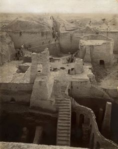 SUMER - Nippur Temple excavations in 1899/1900. Nippur was the principal center of scribal training in the Old Babylonian period. The tablets excavated there provided the basis for recent research on mathematical education and curriculum