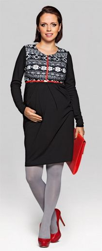 If you love the winter magic you will certainly like our dress in this characteristic pattern. It is very warm, made of soft and slightly stretchy jersey. The skirt is slightly flaring forming the A shape. The neckline has been broken with a metal zip which allows nursing. All these elements complete an interesting combination of classic and avant-garde looks.