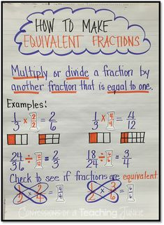 How can you tell if two fractions are equivalent math anchor charts math fractions and anchor . Teaching Fractions, Math Fractions, Teaching Math, Comparing Fractions, Dividing Fractions, Multiplication, Equivalent Fractions Chart, Fractions Worksheets Grade 3, Adding Fractions