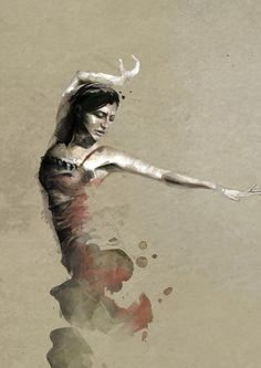 Exquisite Paintings in watercolors by Mario Alba → i ortega by mario alba #flamenco