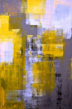Large Acrylic Abstract Art Painting Yellow, Black, White and Grey - Modern…
