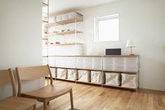 Muji PP boxes and shelves. Such clean lines! Shelf Furniture, Modular Furniture, Home Furniture, Interior Design Inspiration, Home Decor Inspiration, Muji Home, Muji Style, Zen Interiors, Home Storage Solutions