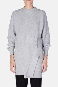 L/S Knit Dress with Tie - Light Grey Melange