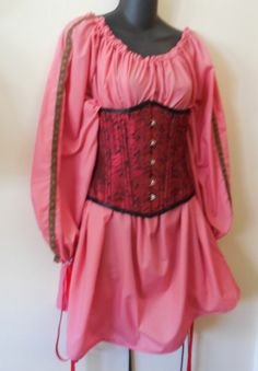 Ladies long sleeve Dusty Rose Chemise w/ trim medieval wench  LARP Pirate SCA