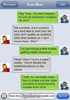 texts from superheroes. THE BEST!