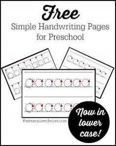 Simple handwriting pages for preschool - now in lowercase! - The Measured Mom