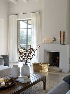 Cheap Home Decor .Cheap Home Decor Living Room Decor Curtains, Cozy Living Rooms, Living Spaces, Bedroom Curtains, Fireplace Design, Simple Fireplace, White Fireplace, Minimalist Living, Interiores Design
