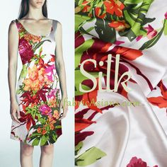 """Heavy Silk Crepe. Red Floral Silk. Pure Silk. Tropical Silk Fabric. Vibrant Floral.  32 mumi. 55"""" SSB100377 by fabricAsians on Etsy https://www.etsy.com/listing/232614180/heavy-silk-crepe-red-floral-silk-pure"""