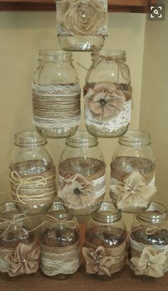 Set of 10 Mason Jar Sleeves, Burlap Wedding Decorations, Rustic Wedding Centerpieces, Burlap and Lace Wedding Jars by RusticWithElegance on Etsy Burlap Wedding Decorations, Rustic Wedding Centerpieces, Burlap Centerpieces, Burlap Party, Mason Jar Centerpieces, Centerpiece Ideas, Burlap Candles, Simple Centerpieces, Pot Mason Diy