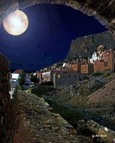 "Monemvasia, Peloponnese, Greece  ***    ""The secrets of the moon  are hidden in its light  and in the darkness of the village  glimmers its treasure.""    photo by TBoH"