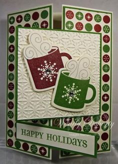 Wdoherty - Cards and Paper Crafts at Splitcoaststampers. ~ Why do I NEVER remember I LOVE the tri-fold cards! Stamped Christmas Cards, Homemade Christmas Cards, Christmas Cards To Make, Xmas Cards, Homemade Cards, Handmade Christmas, Holiday Cards, Christmas Mugs, Tri Fold Cards