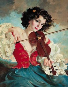 Catherine La Rose's art painting of the ungarien Maria SZANTHO Gypsy Violin Player Rembrandt, Santa Sara, Beautiful Paintings, Classic Paintings, Female Art, Photo Art, Pin Up, Illustration Art, Vintage Illustrations