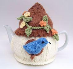 bird house tea cozy for a teapot; handmade by nana@cutiepiehats.com. This birdhouse tea cosy won a County Fair blue ribbon in 2013!