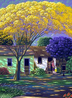 Painting The Carranca By Edivaldo Barbosa De Souza Naiveart, Oil On Canvas, Vibrant Colors | Modern Art Movements To Inspire Your Design