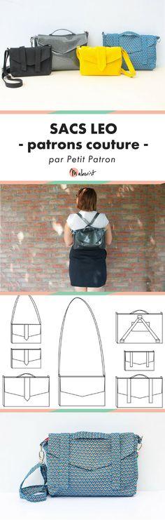Patron couture des sacs léo ! Merci Petit Patron, c'est facile à suivre et le résultat est incroyable ! Couture Main, Leo, Sewing Online, Diy Sac, Sewing Class, Cute Diys, Shopper Bag, Fashion Sewing, Leather Working