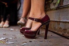 Outstanding Burgundy Dotted Heels 2015 Trend Model