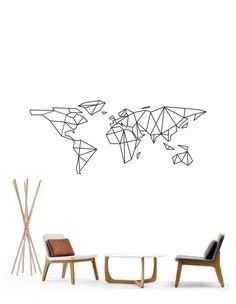 Science Art Geometric World Map vinyl wall decal by cutnpasteshop