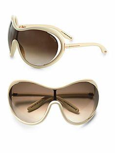 Tom Ford Eyewear Grant Oversized Round Shield Sunglasses/Horn