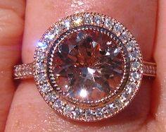 Peachy Pink Morganite in Rose Gold Milgrain Bezel by JuliaBJewelry