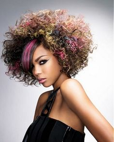 Multi- colored afro!  Finally something I can do with my type of hair!