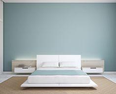 Chambre épurée et zen en bleu gris