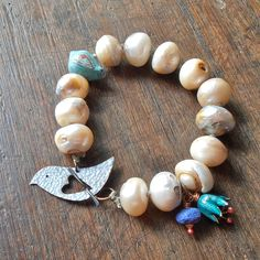 ❥ Chunky pearl bracelet - rustic freshwater pearls, hand knotted, handmade bird and flower beads, blue and teal