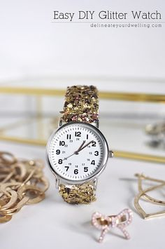 Spruce up a boring watch band with this pretty glitter alternative! #Watches #DIY