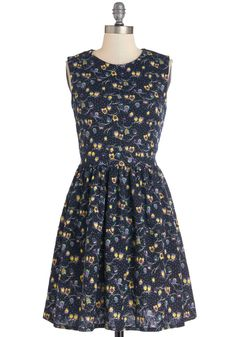 Hoot of a Kind Dress. Just like you and your best pal, the colorful owls printed on this black dress are two of a kind. #multi #modcloth